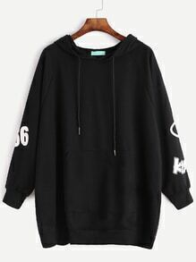 Black Print Raglan Sleeve Pocket Hooded Sweatshirt