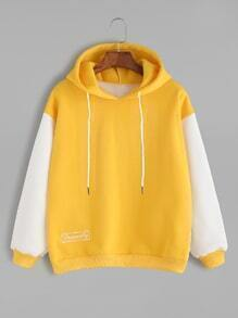 Yellow Contrast Letter Embroidery Drawstring Hooded Sweatshirt
