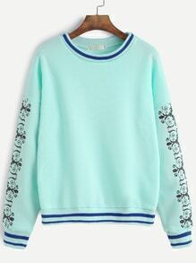 Pale Green Sleeve Print Striped Trim Drop Shoulder Sweatshirt