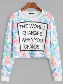 Flower And Letter Print Crop Sweatshirt