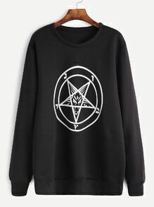 Black Pentagram Print Sweatshirt