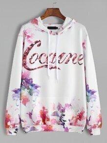 White Flower Letter Print Drawstring Hooded Sweatshirt