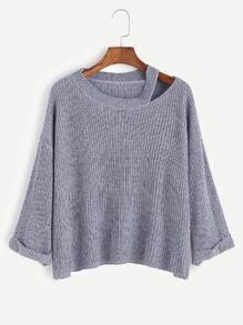 Blue Dropped Shoulder Seam Cutout Cuffed Sweater