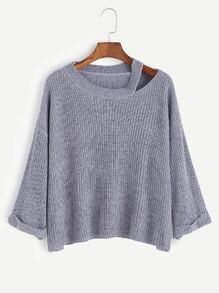 Blue Dropped Shoulder Seam Cutout Cuffed Sweater