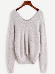 Pale Grey Double V Neck High Low Sweater