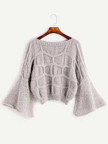 Light Grey Bell Sleeve Textured Sweater
