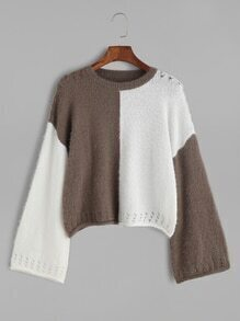 Color Block Dropped Shoulder Seam Hollow Sweater