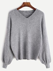 V Neck Drop Shoulder Lantern Sleeve Ribbed Knit Sweater
