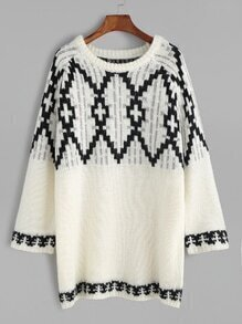 Beige Raglan Sleeve Geometric Pattern Sweater
