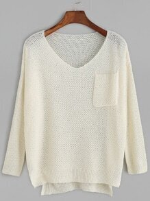 Beige V Neck Dip Hem Pocket Sweater