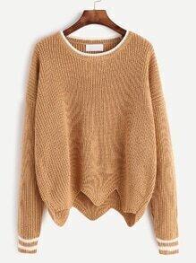 Khaki Striped Trim Drop Shoulder Wave Hem Sweater