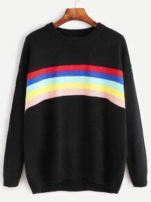 Black Dropped Shoulder Seam Rainbow Striped Sweater