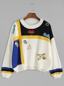 Color Block Drop Shoulder High Low Embroidered Patch Sweater