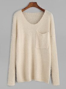 Apricot Dropped Shoulder Seam Pocket Sweater