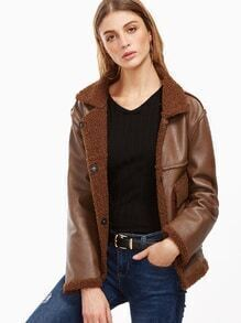 Brown Faux Leather Jacket With Faux Shearling Lining