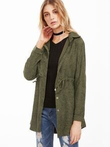 Army Green Drawstring Waist Single Button Coat