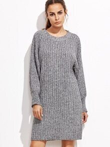 Heather Grey Drop Shoulder Sweater Dress