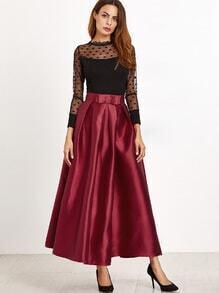 Burgundy Bow Trim Pleated Long Skirt