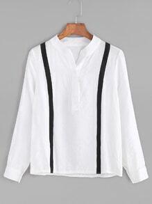 White Contrast Striped Trim Blouse