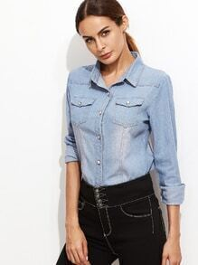 Blue Long Sleeve Pockets Denim Shirt