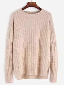 Apricot Slit Side High Low Cable Knit Sweater