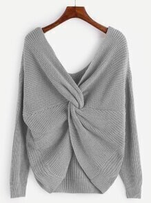 Grey V Neck Knot Sweater