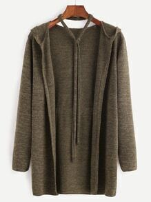 Khaki Self Tie Hooded Cardigan