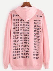 Pink Number Print Hooded Sweatshirt