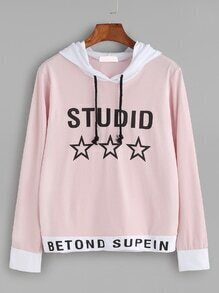 Contrast Trim Slogan Print Hooded Sweatshirt