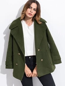 Army Green Double Breasted Coat