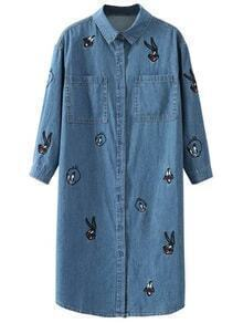Blue Embroidery Denim Shirt Dress