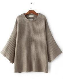Camel Drop Shoulder Loose Sweater