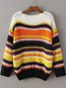 Multicolor Striped Boat Neck Sweater