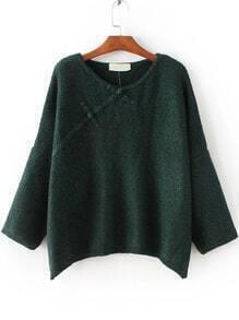 Dark Green Button Embellished Drop Shoulder Sweater
