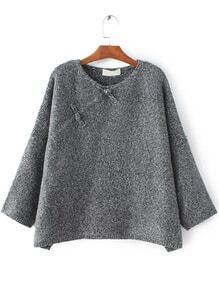 Grey Button Embellished Drop Shoulder Sweater