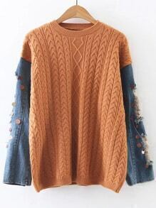 Khaki Cable Knit Sequin Ripped Denim Sleeve Sweater