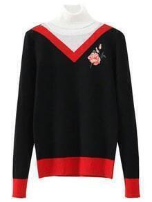 Black Color Block Embroidery Turtleneck Sweater
