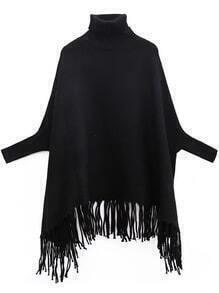 Black Turtleneck Batwing Sleeve Fringe Cape Sweater