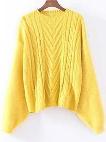 Yellow Cable Knit Drop Shoulder Mohair Sweater