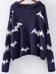 Blue Bat Pattern Hooded Sweater