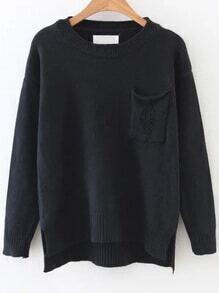 Black Ripped Dip Hem Sweater With Pocket