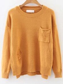 Yellow Ripped Dip Hem Sweater With Pocket