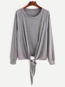 Grey Raglan Sleeve Knotted Sweatshirt