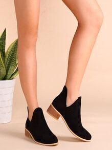 Black Faux Suede Cork Heel Ankle Booties