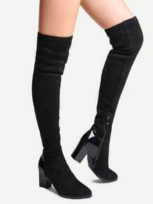 Black Faux Suede Point Toe Chunky Knee Boots