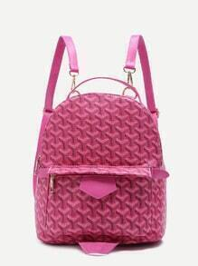 Pink Print PU Front Pocket Backpack