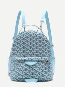 Blue Print PU Front Pocket Backpack