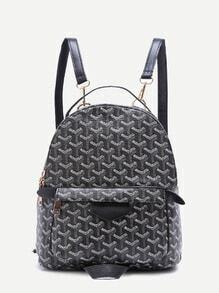 Black Print PU Front Pocket Backpack