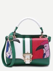 Green Snakeskin Leather Cartoon Print Satchel Bag