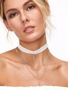 White Velvet Layered Spike Choker Necklace